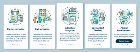 Inclusive education onboarding mobile app page screen with concepts. Educational assistance for disabled walkthrough five steps graphic instructions. UI vector template with RGB color illustrations