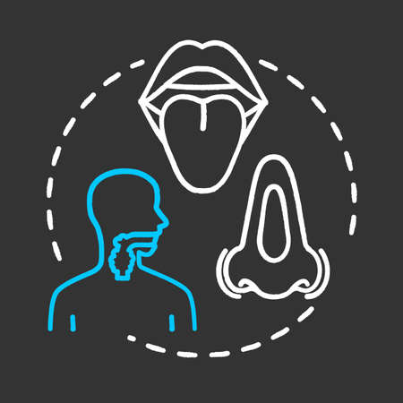 Head and neck oncology chalk RGB color chalk RGB color concept icon. ENT disorder. Diseases of ears, nose, throat. Otorhinolaryngology idea. Vector isolated chalkboard illustration on black background Illustration
