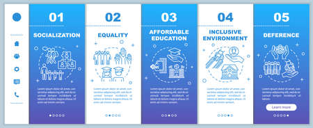 Inclusive education onboarding vector template. Equality and socialization. Affordable studying. Responsive mobile website with icons. Webpage walkthrough step screens. RGB color concept Vettoriali