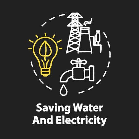 Ahorro de agua y electricidad icono de concepto de color RGB de tiza. Consumo responsable de recursos. Uso eficiente. Idea de ecología. Vector ilustración de pizarra aislada sobre fondo negro Ilustración de vector