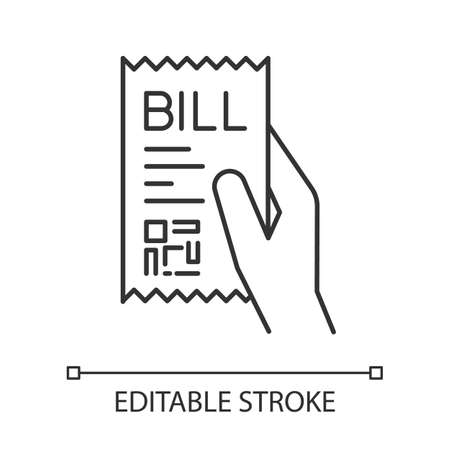 Bill of exchange pixel perfect linear icon. Printed cheque. Payment notice. Purchase proof. Thin line customizable illustration. Contour symbol. Vector isolated outline drawing. Editable stroke Иллюстрация