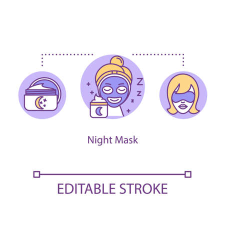 Night mask concept icon. Sleeping cream. Rest and relaxation. Skincare treatment. Nighttime routine idea thin line illustration. Vector isolated outline RGB color drawing. Editable stroke