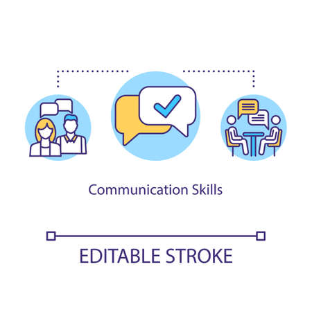 Communication skills concept icon. Group dynamic. Inclusive education community. Student socialization idea thin line illustration. Vector isolated outline RGB color drawing. Editable stroke