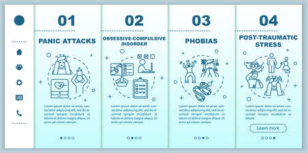 Mental disorders onboarding vector template. Psychological diseases. Panic attacks. obsessive compulsive disorder. Responsive mobile website, icons. Webpage walkthrough step screens. RGB color concept