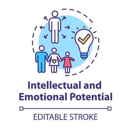 Intellectual and emotional potential concept icon. Live full life. Positive impact on others. Happy being idea thin line illustration. Vector isolated outline RGB color drawing. Editable stroke