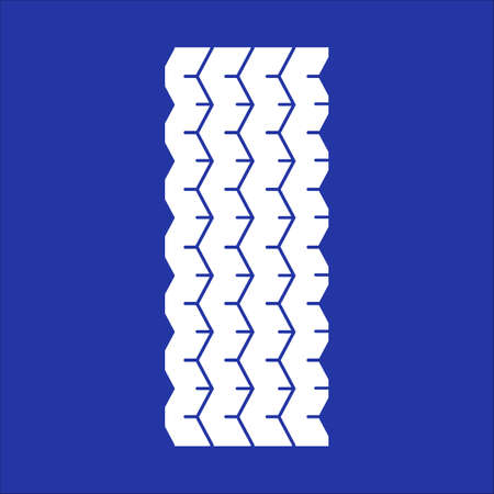 Track tread RGB white icon. Detailed automobile, motorcycle tyre marks. Car wheel trace with thin grooves. Vehicle tire trail. Isolated vector illustration on blue background
