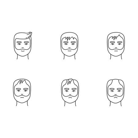 Hair loss pixel perfect linear icons set. Baldness process stages. Male alopecia conditions. Customizable thin line contour symbols. Isolated vector outline illustrations. Editable stroke Иллюстрация