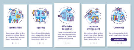 Inclusive education onboarding mobile app page screen with concepts. Special conditions for the disabled walkthrough five steps graphic instructions. UI vector template with RGB color illustrations