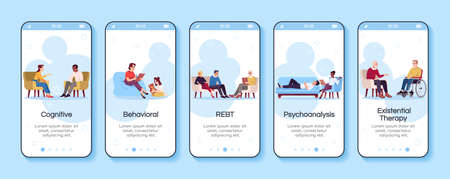 Psychology consultation onboarding mobile app screen vector template. Cognitive, behavioral therapy. Walkthrough website steps with flat characters. UX, UI, GUI smartphone cartoon interface concept Vektorové ilustrace