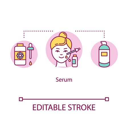 Serum concept icon. Essential oil. Moisturizing liquid for face treatment. Skincare. Cosmetic product idea thin line illustration. Vector isolated outline RGB color drawing. Editable stroke