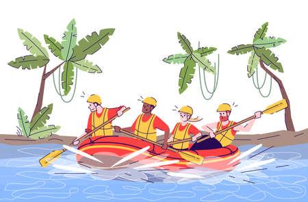 Illustration de doodle plat de rafting dans la jungle. Les gens en radeau. Activité d'eau. Sports extrêmes. Passe-temps actif dans un pays exotique. Personnage de dessin animé 2D de tourisme indonésien avec contour à usage commercial