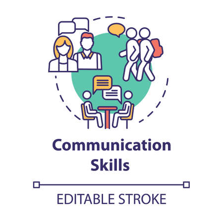 Communication skills concept icon. Group dynamic. Inclusive education community. Socialization ability idea thin line illustration. Vector isolated outline RGB color drawing. Editable stroke Vettoriali