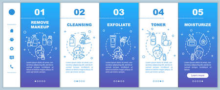Skincare onboarding vector template. Remove makeup. Cleansing, exfoliating. Toner and moisturizer. Responsive mobile website with icons. Webpage walkthrough step screens. RGB color concept