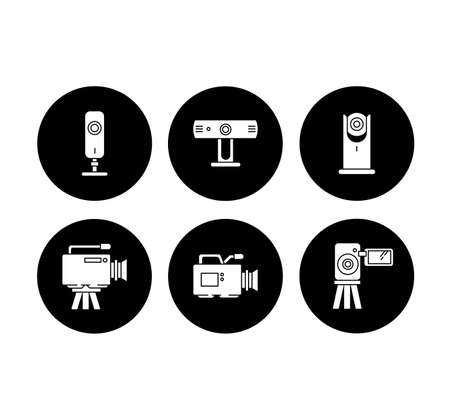 Webcams glyph icons set. Digital video cameras. Online chatting. Surveillance. Portable recording gadgets. Technology. Mobile devices. Vector white silhouettes illustrations in black circles