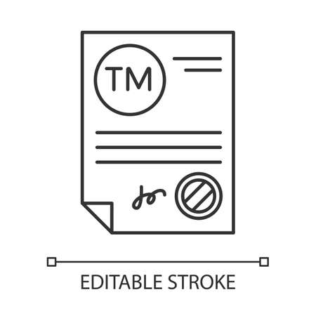 Trademark certificate pixel perfect linear icon. Certification mark. License. Brand registration. Thin line customizable illustration. Contour symbol. Vector isolated outline drawing. Editable stroke