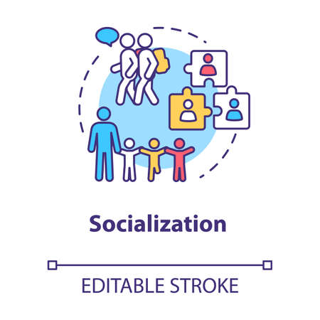 Socialization concept icon. Diversity in school group. Inclusive education. Social adaptation. Communication idea thin line illustration. Vector isolated outline RGB color drawing. Editable stroke Vettoriali