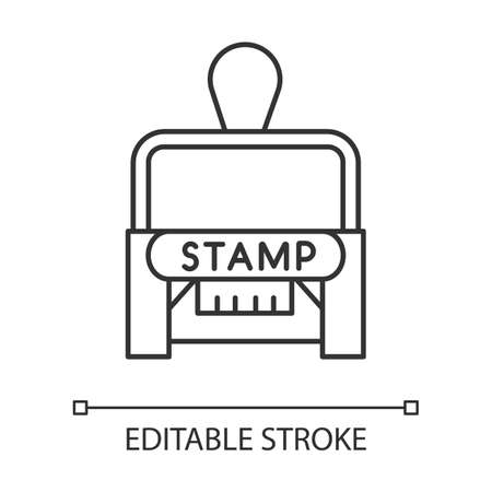 Stamp pixel perfect linear icon. Notarization. Authentification. Validation, confirmation. Thin line customizable illustration. Contour symbol. Vector isolated outline drawing. Editable stroke