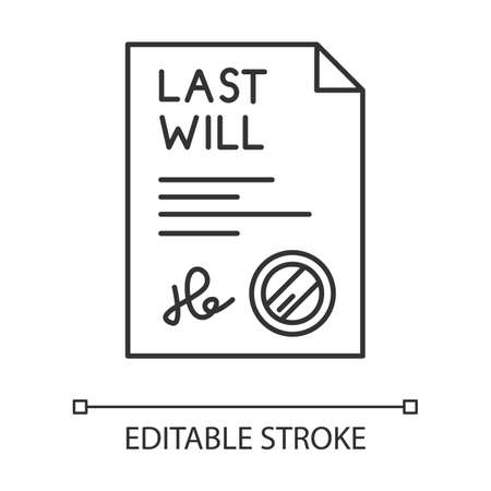 Signed last will pixel perfect linear icon. Document with stamp. Notarized testament. Legal paper. Thin line customizable illustration. Contour symbol. Vector isolated outline drawing. Editable stroke Illustration