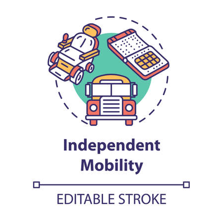 Independent mobility concept icon. Transportation for people with special needs. Inclusive environment idea thin line illustration. Vector isolated outline RGB color drawing. Editable stroke