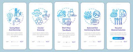 Verantwortungsvoller Konsum Onboarding mobiler App-Seitenbildschirm mit Konzepten. Recycling, Ökologie. Konsumismus Walkthrough 5 Schritte grafische Anweisungen. UI-Vektorvorlage mit RGB-Farbabbildungen