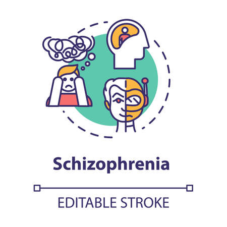 Schizophrenia concept icon. Psychosis with hallucinations. Insanity. Schizophrenic disorder. Mental illness idea thin line illustration. Vector isolated outline RGB color drawing. Editable stroke Illustration