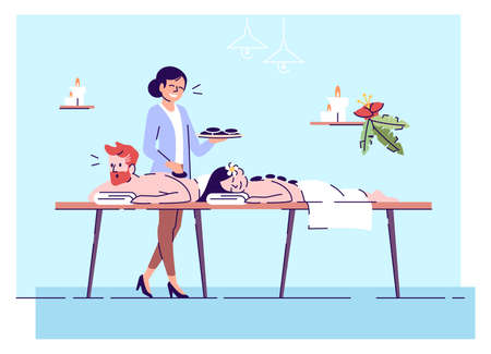 Couple on hot stone massage flat doodle illustration. Spa procedure. Massage service. Ancient practice. Relaxation. Indonesia tourism 2D cartoon character with outline for commercial use