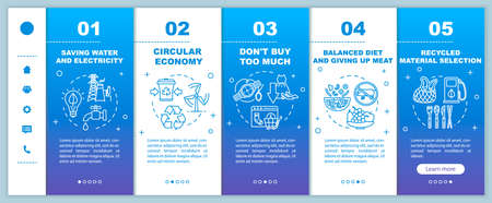 Responsible consumptiononboarding vector template. Recycle and ecology. Consumerism and consupmtion. Responsive mobile website with icons. Webpage walkthrough step screens. RGB color concept