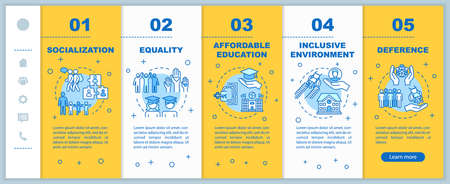 Inclusive education onboarding vector template. Equality and deference. Affordable studying. Responsive mobile website with icons. Webpage walkthrough step screens. RGB color concept