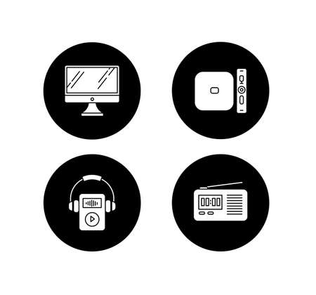 Mobile devices glyph icons set. Pocket electronic gadgets. Desktop computer, MP3 music player. Radio set, media player. Compact digital tools. Vector white silhouettes illustrations in black circles