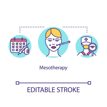 Mesotherapy concept icon. Injection with vitamin and hormone. Facial anti-aging treatment. Beauty procedure idea thin line illustration. Vector isolated outline RGB color drawing. Editable stroke 向量圖像