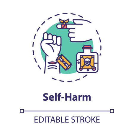 Self harm concept icon. Masochism. Self-injury and substance abuse. Personality disorder. Mental illness idea thin line illustration. Vector isolated outline RGB color drawing. Editable stroke Векторная Иллюстрация