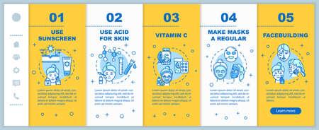Onboarding-Vektorvorlage für Hautpflege. Verwenden Sie Sonnencreme. Säure für die Haut und Vitamin C. Regelmäßige Masken, Facebuilding. Responsive mobile Website mit Symbolen. Schrittbildschirme für die Website-Walkthrough-Schritte. RGB-Farbkonzept Vektorgrafik