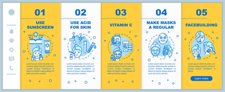 Skincare onboarding vector template. Use sunscreen. Acid for skin and vitamin C. Regular masks, facebuilding. Responsive mobile website with icons. Webpage walkthrough step screens. RGB color concept