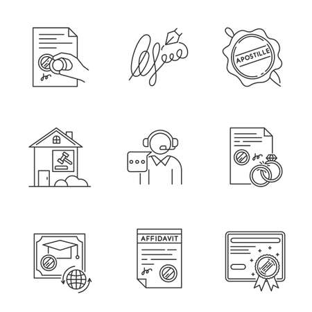 Notary services pixel perfect linear icons set. Certificate. Affidavit. Diploma. Signature. Call center. Customizable thin line contour symbols. Isolated vector outline illustrations. Editable stroke
