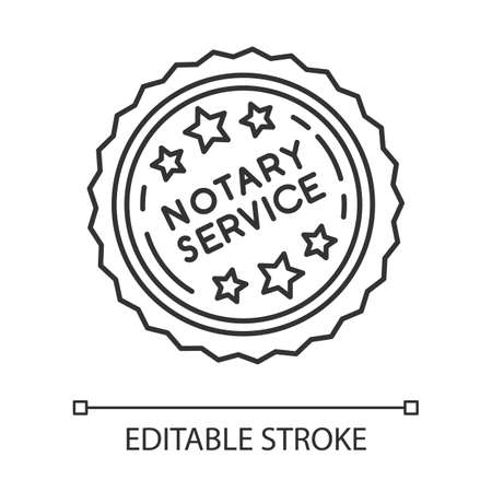Notary services stamp mark pixel perfect linear icon. Notarization. Authentification. Validation. Thin line customizable illustration. Contour symbol. Vector isolated outline drawing. Editable stroke Illustration