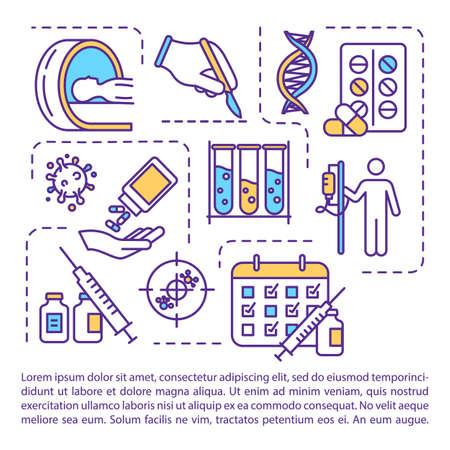 Cancer treatment concept icon with text. Chemotherapy and surgery. Radiotherapy. PPT page vector template. Oncology drug therapy. Brochure, magazine, booklet design element with linear illustrations