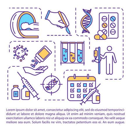 Icône de concept de traitement du cancer avec texte. Chimiothérapie et chirurgie. Radiothérapie. Modèle de vecteur de page PPT. Thérapie médicamenteuse en oncologie. Brochure, magazine, élément de conception de livret avec illustrations linéaires