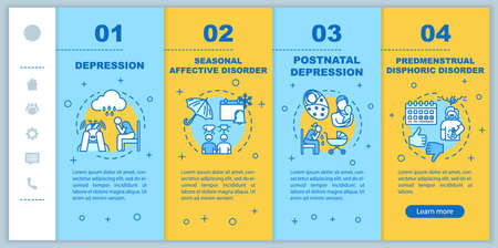 Mental disorders onboarding vector template. Psychological problems. Seasonal affective disorder. Depression. Responsive mobile website with icons. Webpage walkthrough step screens. RGB color concept
