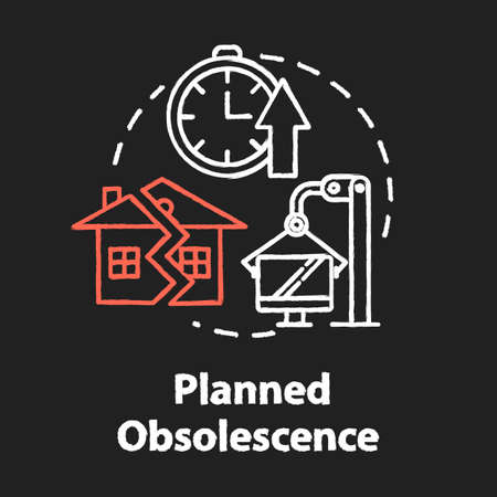 Planned obsolescence chalk RGB color concept icon. Products with limited period of use. Unendurable technology. Overconsumption idea. Vector isolated chalkboard illustration on black background