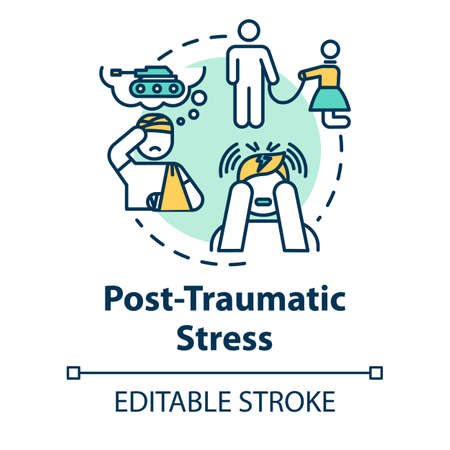 Post traumatic stress concept icon. PTSD. Horrifying memories. Mental illness. Psychology, psychiatry idea thin line illustration. Vector isolated outline RGB color drawing. Editable stroke Vector Illustration