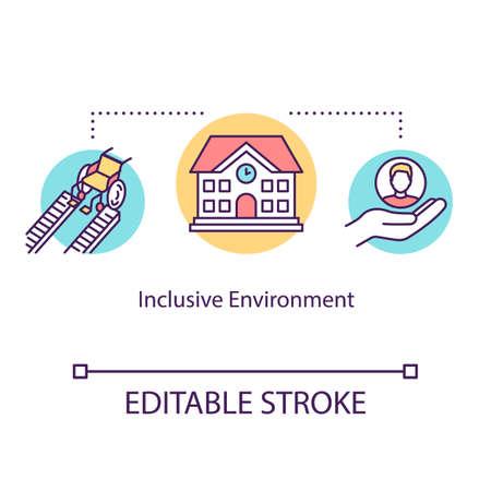 Icono del concepto de medio ambiente inclusivo. Apoyo a personas discapacitadas en la universidad. Ayuda especial para estudiantes idea ilustración de línea fina. Dibujo de color RGB de contorno aislado vectorial. Trazo editable