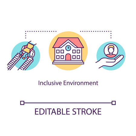 Inclusive environment concept icon. Support for disabled people in college. Special aid for students idea thin line illustration. Vector isolated outline RGB color drawing. Editable stroke