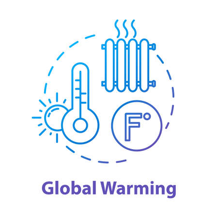 Global warming concept icon. Heat wave. High temperature. Industrial damage. Ozone hole and depletion. Climate change idea thin line illustration. Vector isolated outline RGB color drawing Иллюстрация