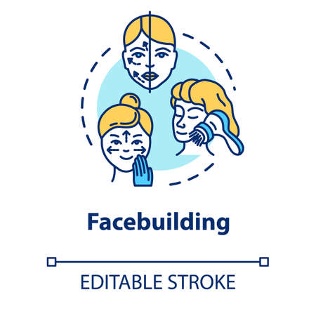 Facebuilding, face massage concept icon. Cosmetology, anti-aging procedure, youth and beauty idea thin line illustration. Vector isolated outline RGB color drawing. Editable stroke Illustration