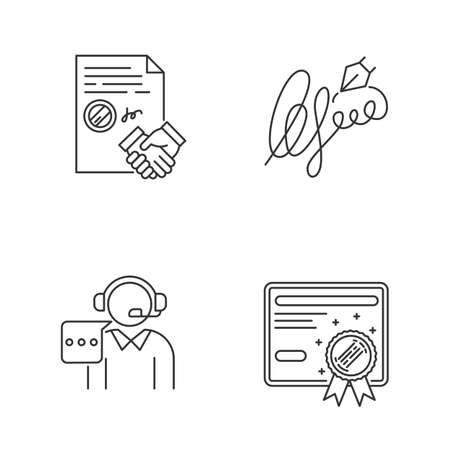 Notary services pixel perfect linear icons set. Divorce. Diploma. Real estate litigation. Wax seal. Customizable thin line contour symbols. Isolated vector outline illustrations. Editable stroke Illustration