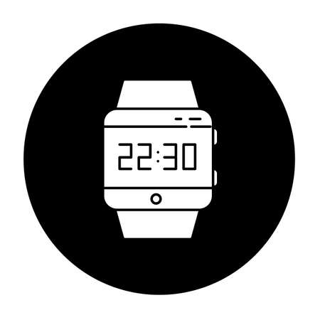 Wrist smartwatch glyph icon. Smart watch with touchscreen display. Wristwatch. Digital clock. Wearable gadget. Fitness tracker. Mobile device. Vector white silhouette illustration in black circle