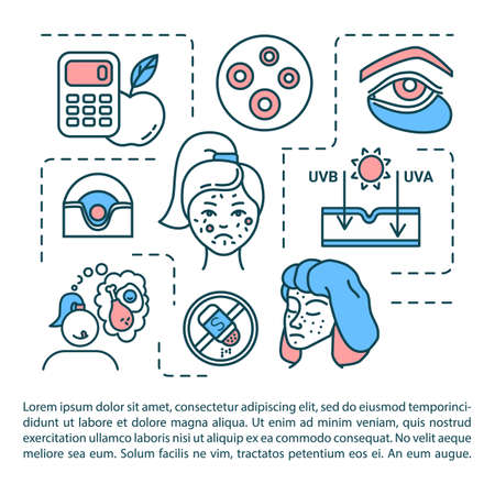 Problem skin concept icon with text. Pimple treatment. Unhealthy diet. UV damage. Dermatology. PPT page vector template. Brochure, magazine, booklet design element with linear illustrations
