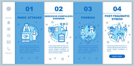 Mental disorders onboarding vector template. Psychological diseases. Obsessive compulsive disorder. Panic attacks. Responsive mobile website, icons. Webpage walkthrough step screens. RGB color concept Иллюстрация