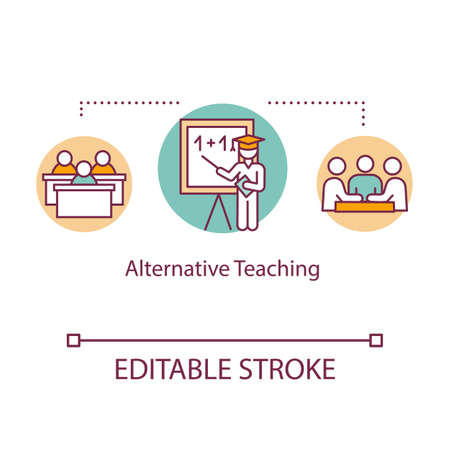 Alternative teaching concept icon. Specialized studying program. Group learning. Inclusive education idea thin line illustration. Vector isolated outline RGB color drawing. Editable stroke  イラスト・ベクター素材