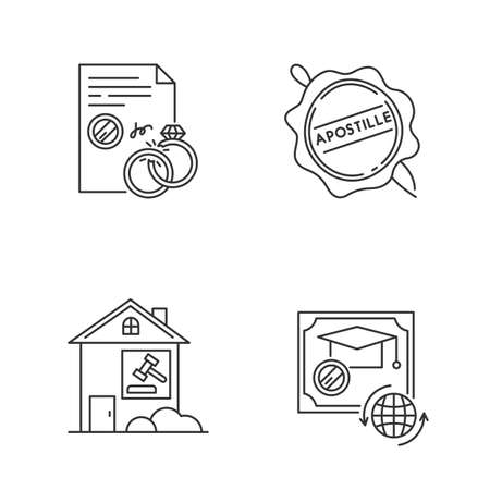 Notary services pixel perfect linear icons set. Divorce. Diploma. Real estate litigation. Wax seal. Customizable thin line contour symbols. Isolated vector outline illustrations. Editable stroke Иллюстрация